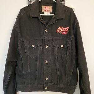 Rare NFL branded 49ers black jean jacket vtg.sz.M